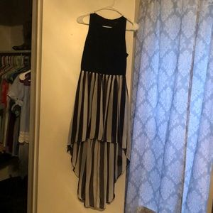 Black and white high-low dress